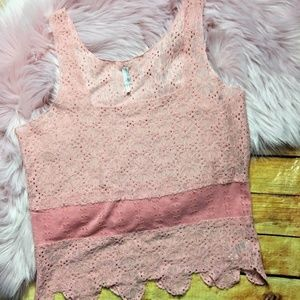 Intimately Free People Women's Pink Lace Cami L